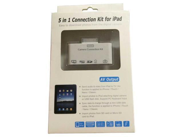 Multi Use Card Reader 5-in-1 AV Camera Connection Kit USB 2.0 SD Card Reader Adapter for iPad iPad 2