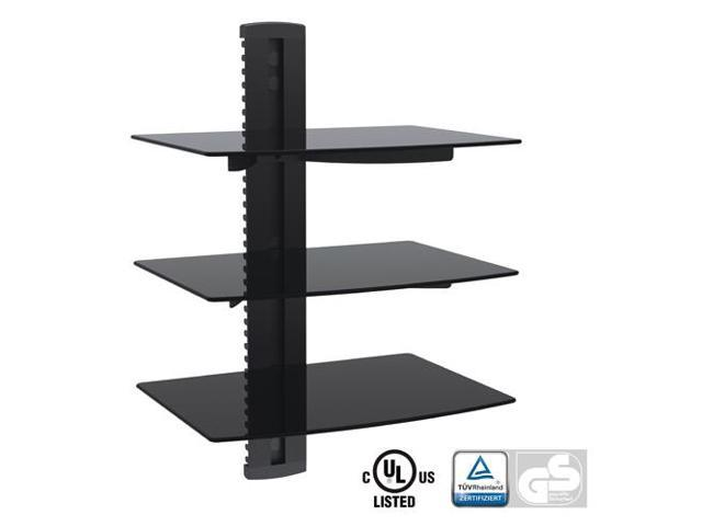 Arrowmounts Aluminum/Tempered Glass DVD Mount Triple Deck Black (AM-SHELF3)