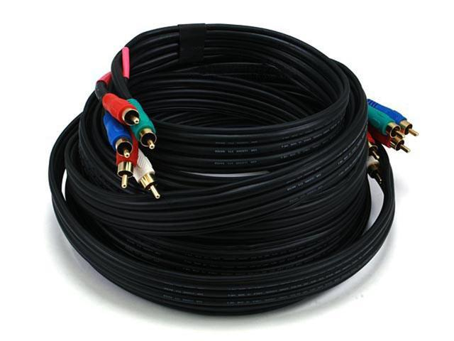 25ft 22AWG 5-RCA Component Video/Audio Coaxial Cable (RG-59/U) - Black (322)