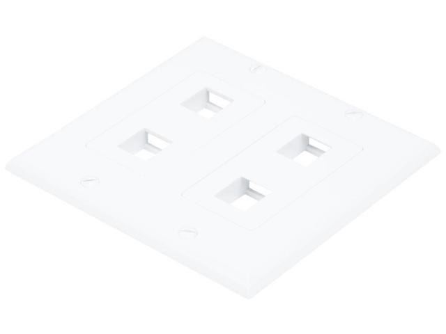 2-Gang Wall Plate for Keystone, 4 Hole - White (6831)