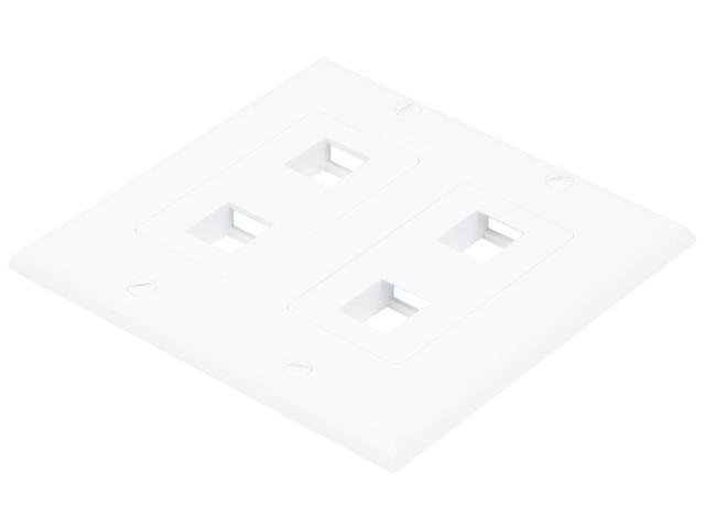 2-Gang Wall Plate for Keystone, 4 Hole - White (6831)