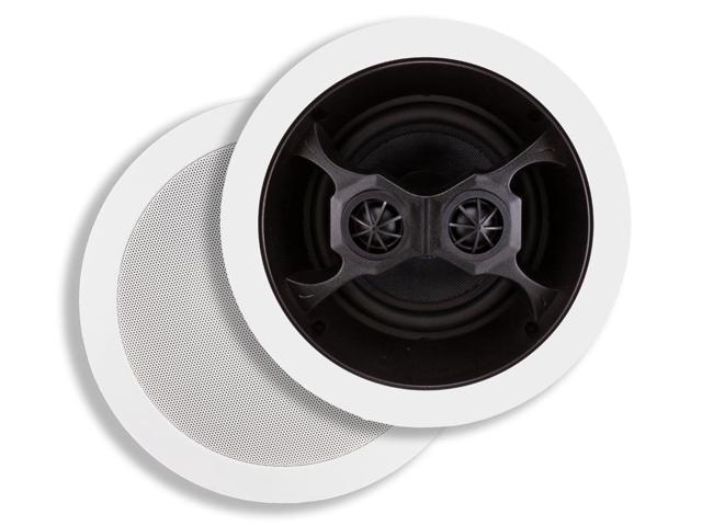 6-1/2 Inches Glass Composite 3-Way, Dual Voice Coil, Stereo In-Ceiling Speaker (Pair) - 40W Nominal, 100w Max (4619)