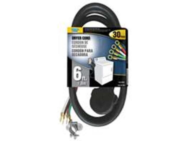 Power Zone ORD100406 Dryer Cord 10/4 Srdt Black 6-Foot Indoor - 4 Conductor - Ea