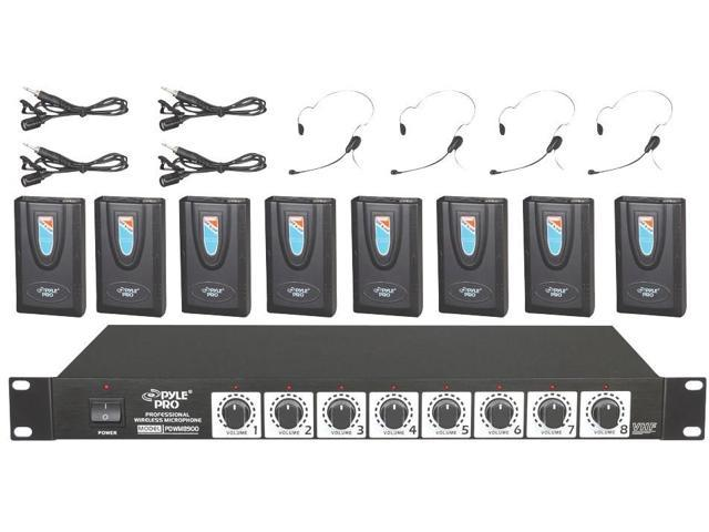 New Pyle Pdwm8900 Rack Mount 8 Channel Wireless Microphone System W/ 8 Headsets