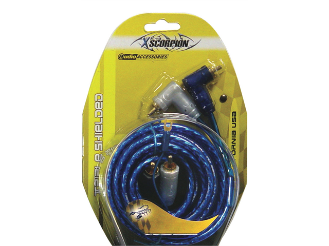 NEW XSCORPION 15TR 15' RIGHT ANGLE TIPLE SHIELDED RCA CABLES W/ TURN ON WIRE