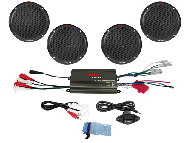 NEW PYLE PLMRKT4B 4 CHANNEL 800 WATT WATERPROOF MARINE AMP 4 x 6.5'' SPEAKERS