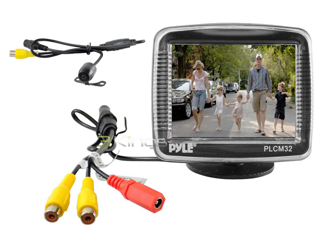 Pyle - 3.5'' TFT LCD Monitor w/ Universal Mount Rear View & Backup Color CMD Distance Scale Line Camera
