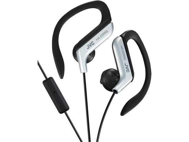 JVC HAEBR80S SPORT-CLIP IN-EAR EAR-CLIP HEADPHONES WITH MICROPHONE & REMOTE (SILVER)