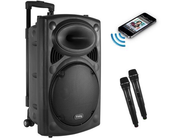 Frisby FS-4050P Portable Rechargeable Bluetooth Karaoke Party Machine PA Speaker System w/ Telescoping Handle & Wheels & 2 Wireless Microphones ...