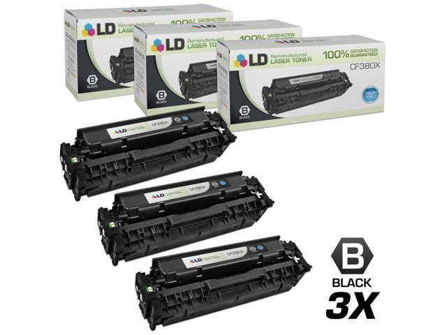 LD © Remanufactured Replacements for Hewlett Packard CF380X (HP 312X) Set of 3 High Yield Black Laser Toner Cartridges for use in HP Color ...