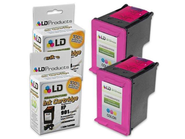 LD © Remanufactured Replacement Ink Cartridges for Hewlett Packard CC656AN HP 901 Tri-Color (2 Pack)