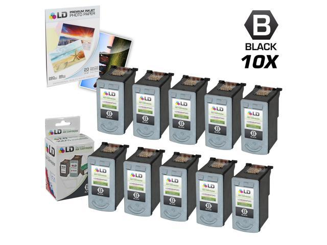 LD © Remanufactured Canon PG40 Set of 10 Black Inkjet Cartridges & Free 20 Pack of LD Brand 4x6 Photo Paper