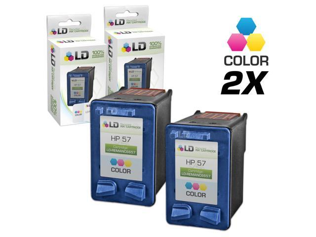 LD © Remanufactured Replacement Ink Cartridges for Hewlett Packard C6657AN (HP 57) Tri-Color (2 Pack)