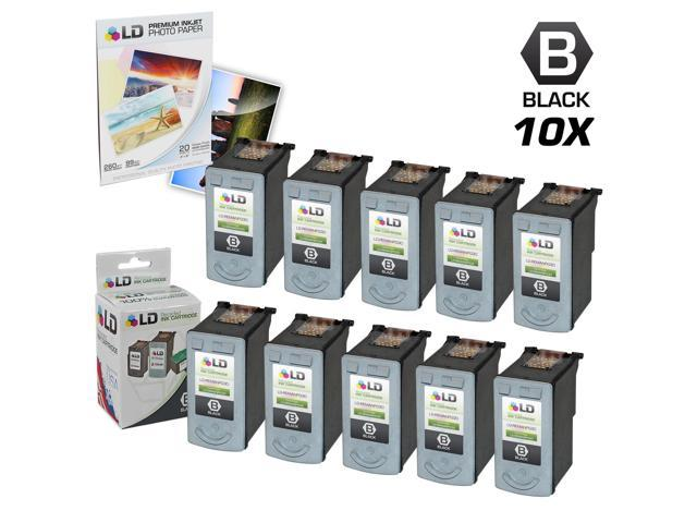 LD © Remanufactured Canon PG30 Set of 10 Black Inkjet Cartridges & Free 20 Pack of LD Brand 4x6 Photo Paper