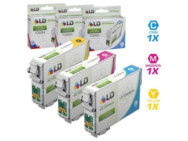 LD © Remanufactured Replacement for Epson T069 Set of 3 Ink Cartridges Includes: 1 T069220 Cyan, 1 T069320 Magenta, and 1 T069420 Yellow