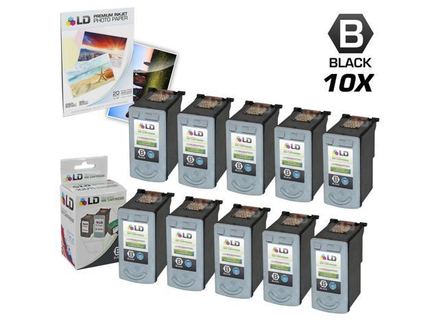 LD © Remanufactured Canon PG50 Set of 10 Black Inkjet Cartridges & Free 20 Pack of LD Brand 4x6 Photo Paper