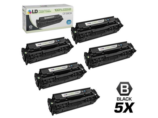 LD © Remanufactured Replacements for Hewlett Packard CF380X (HP 312X) Set of 5 High Yield Black Laser Toner Cartridges for use in HP Color ...