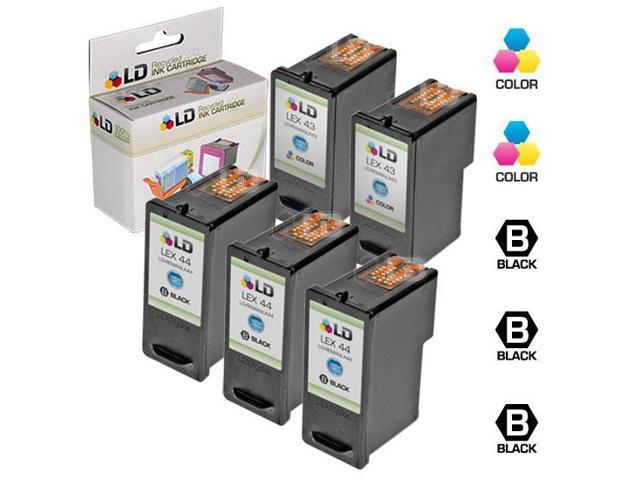 LD © Remanufactured Lexmark 18Y0144(#44) and 18Y0143 (#43) Set of 5 Ink Cartridges: Includes 3 Black and 2 Color Cartridges and a FREE 20-pack of ...