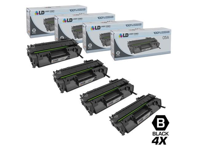 LD © Compatible Replacements for Hewlett Packard CE505A (HP 05A) Set of 4 Black Laser Toner Cartridges for use in HP LaserJet P2035, P2035n, ...