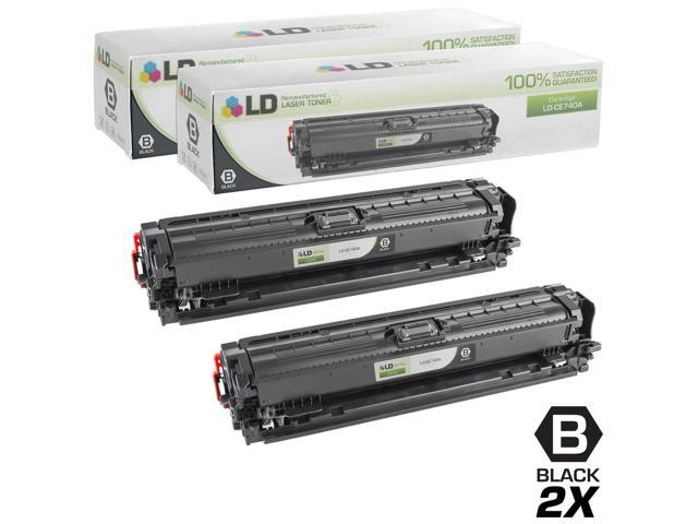 LD © Remanufactured Replacements for Hewlett Packard CE740A (HP 307A) Set of 2 Black Laser Toner Cartridges for use in HP Color LaserJet CP5225, ...