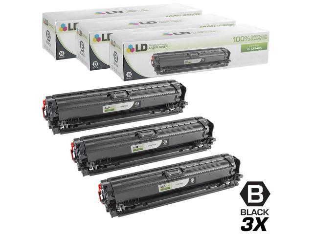 LD © Remanufactured Replacements for Hewlett Packard CE740A (HP 307A) Set of 3 Black Laser Toner Cartridges for use in HP Color LaserJet CP5225, ...
