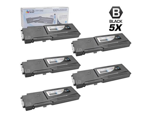 LD © Compatible Dell 331-8429 / W8D60 Set of 5 Black Laser Toner Cartridges for use in Dell C3760DN, C3760N, & C3765NF Printers