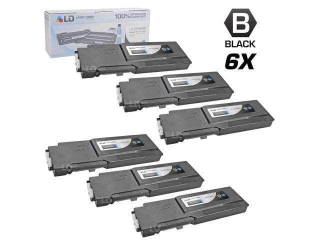 LD © Compatible Dell 331-8429 / W8D60 Set of 6 Black Laser Toner Cartridges for use in Dell C3760DN, C3760N, & C3765NF Printers
