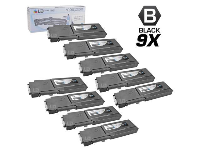 LD © Compatible Dell 331-8429 / W8D60 Set of 9 Black Laser Toner Cartridges for use in Dell C3760DN, C3760N, & C3765NF Printers