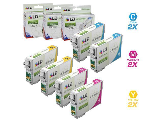 LD © Remanufactured Replacement for Epson T069 Set of 6 Ink Cartridges Includes: 2 T069220 Cyan, 2 T069320 Magenta, and 2 T069420 Yellow