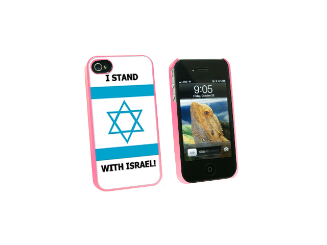I Stand With Israel - Pro Israeli Jewish Support - Snap On Hard Protective Case for Apple iPhone 4 4S - Pink