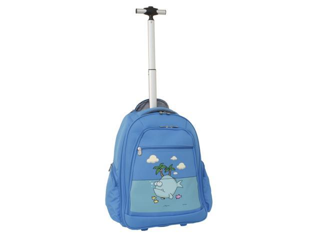 Ed Heck Big Fish 20-inch Rolling Backpack with Laptop Compartment - Sky Blue