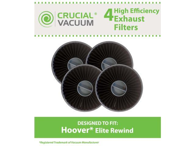 4 Hoover Elite Rewind New High Quality Allergen Exhaust Filters Designed To Fit Hoover Vacuum Elite Rewind, Fusion Uprights; Compare To Hoover ...