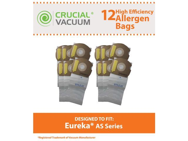 12 Eureka AS Micro Allergen Vacuum Bags Designed To Fit Eureka AS Series Upright Vacuums; Compare To Part # 66655, 68155-6, 68155, 67726; ...