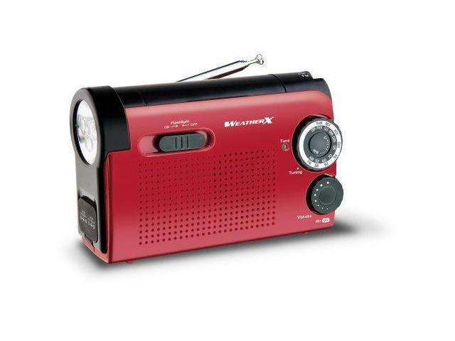 WeatherX GPXWR182RB Weather X WR182R NOAA Weather Band and AM/FM Radio Flashlight with Dynamo Hand Crank Power (Red/Black)