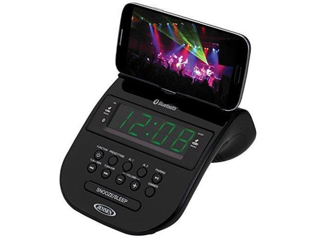 JENSEN JENJCR295B Bluetooth Clock Radio with Cellphone Holder