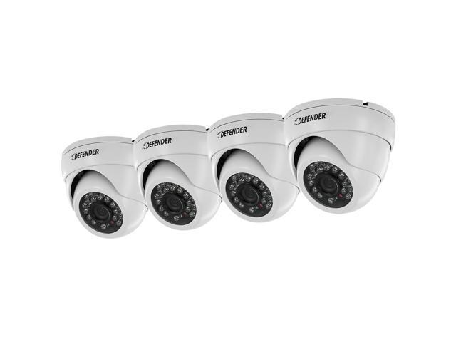 Defender 21320 800TVL MAX Resolution BNC Pro 4 Pack 800TVL Ultra High Resolution Widescreen Indoor/Outdoor Dome Security Cameras