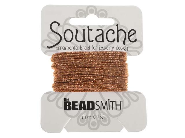 BeadSmith Textured Metallic Soutache Braided Cord 3mm Wide - Copper (3 Yards)