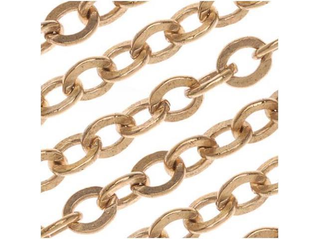 Nunn Design Antiqued Gold Plated Chain Flat Cable 4mm By The Foot