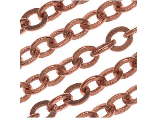 Nunn Design Antiqued Copper Plated Chain Flat Cable 4mm By The Ft