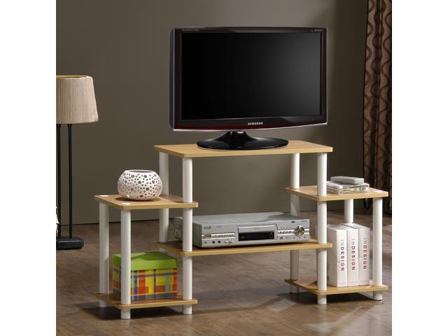 Furinno 11257BK/GYTurn n Tube No-Tool Entertainment Center TV Stand (Black/Grey)