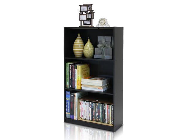 Furinno Espresso 99736EX Basic 3-Tier Bookcase Storage Shelves