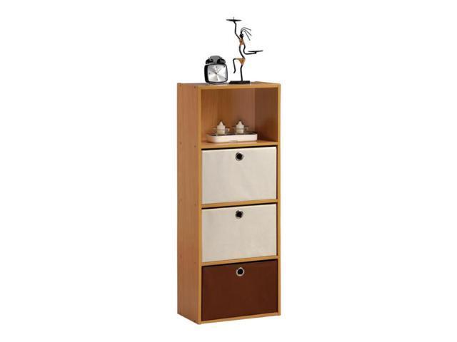 Furinno TiADA No Tools 4-Tier Shelf Storage w/Bin, Natural Oak Finish, NT-12061OKI/IV-DB1