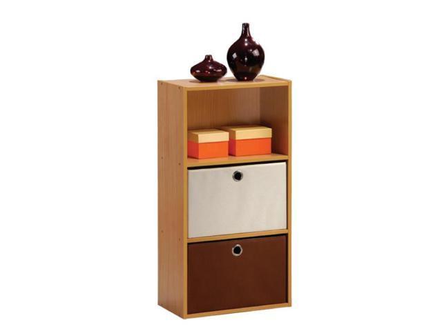 Furinno TiADA No Tools 3-Tier Shelf Storage w/Bin, Natural Oak Finish, NT-12060OKI/IV-DB1