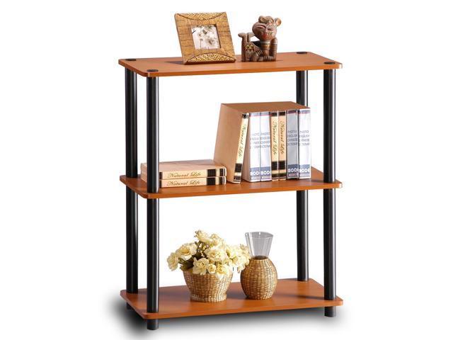 Furinno Ultra 13155 3-Tier Toolless Multipurpose Storage Shelf, Light Cherry/Black