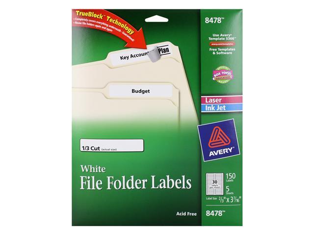 Avery File Folder Labels with TrueBlock Technology, 1/3 Cut, Acid Free, White, 150/Pack (8478)