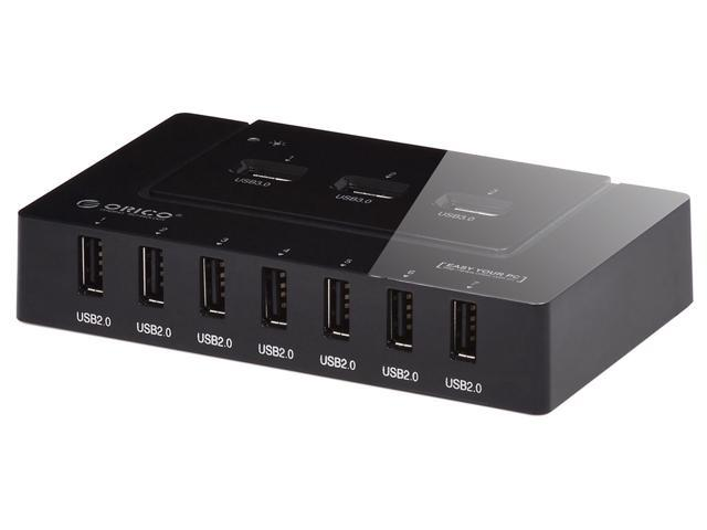ORICO H9910U3 10 Ports USB HUB (3x USB 3.0 & 7x USB 2.0) with 12V/2.5A Power Adapter - Black