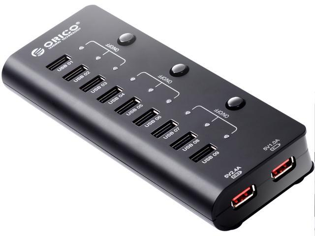 ORICO HF9US-2P-BK 9 Port USB Hubs & 2 Charging Port with Power Switch and Premium 12V 2.5A Power Adapter – Black