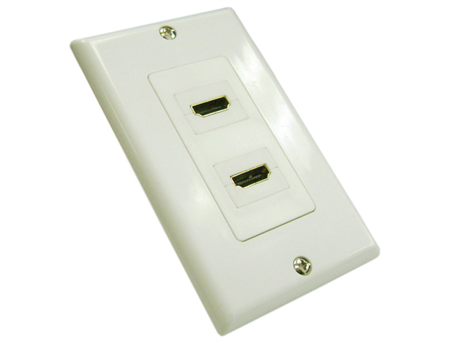HDMI WALL PLATES - 2 PORT 180 Degree White