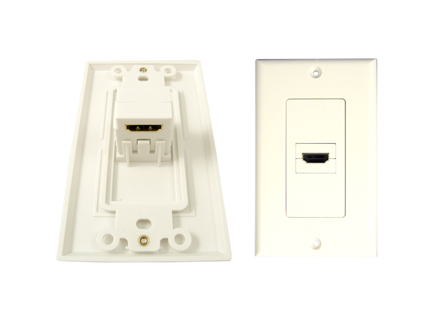 HDMI WALL PLATES - 1 PORT 90 Degree White