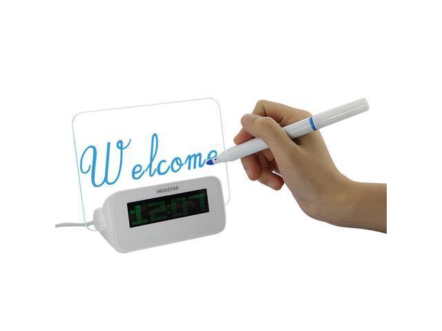 Cute LED Fluorescent Message Notice Board Digital Alarm Clock